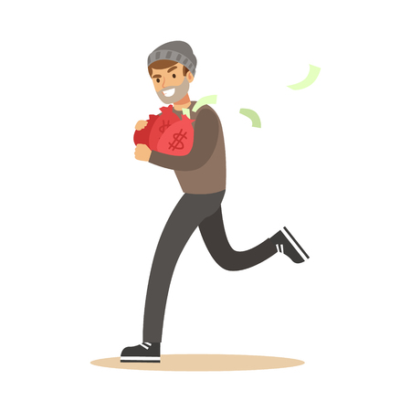 Robber in mask running with red money bags. Colorful cartoon character vector Illustration Stock Photo