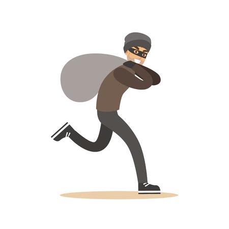 Räuber in der Maske läuft mit riesigem Sack. Bunte Cartoon Zeichen Vektor Illustration Standard-Bild - 76172565