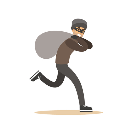 Robber in mask running with huge sack. Colorful cartoon character vector Illustration