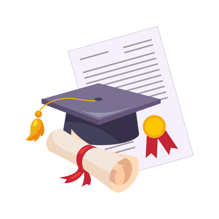 Graduation Hat And Diploma, Set Of School And Education Related Objects In Colorful Cartoon Style Stock Photo