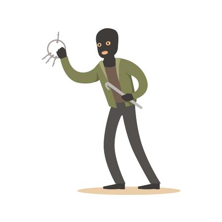 Ladrón en una máscara negra con llaves maestras. Colorido personaje de dibujos animados ilustración vectorial Foto de archivo - 76172567