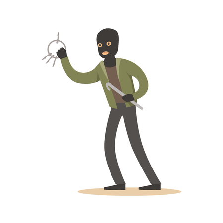 Thief in a black mask with master keys. Colorful cartoon character vector Illustration Stock Photo