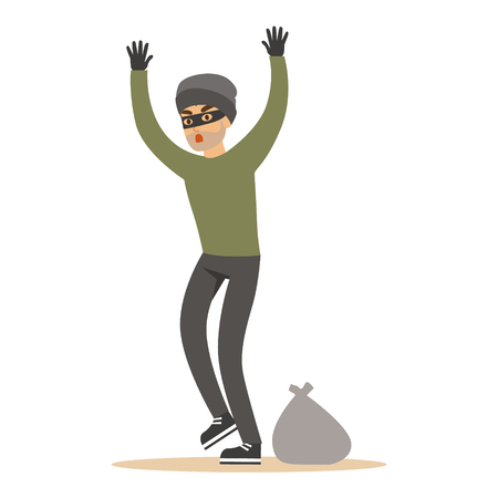Robber man in black mask holding hands up. Colorful cartoon character vector Illustration Stok Fotoğraf - 76172568