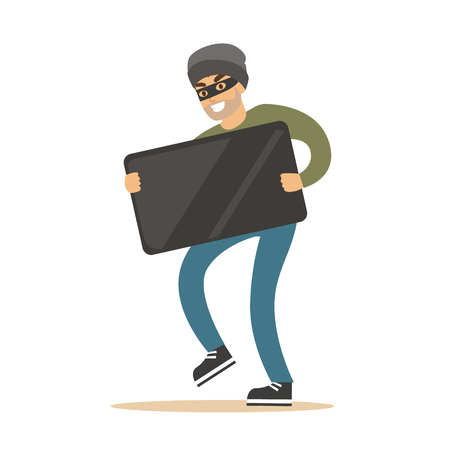 Robber in mask carrying balck modern TV. Colorful cartoon character vector Illustration Stock Photo