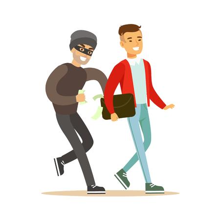 Zakkenroller die geld probeert te stelen van de glimlachende man. Kleurrijke cartoon karakter vector illustratie