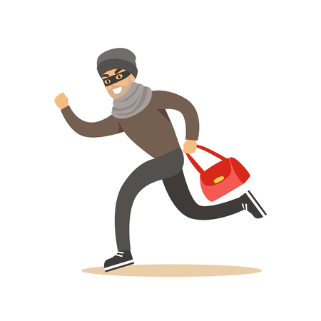 Thief running with a stolen red bag. Colorful cartoon character vector Illustration