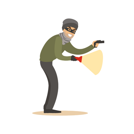 Thief in a black mask on the eyes with flashlight. Colorful cartoon character vector Illustration Stock Photo