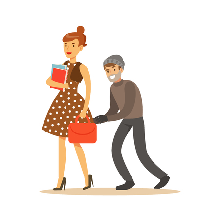 Pickpocket trying to steal bag from girl. Colorful cartoon character vector Illustration