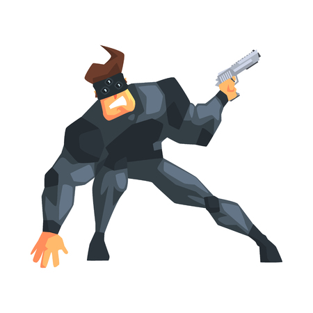 Secret service male agent undercover wearing mask. Illustration