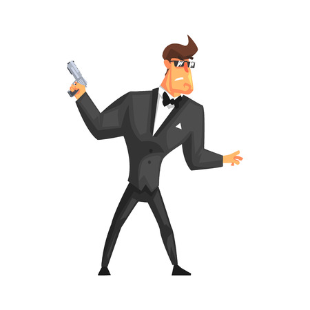 Secret service male agent undercover in fancy suit and bow tie. Illustration