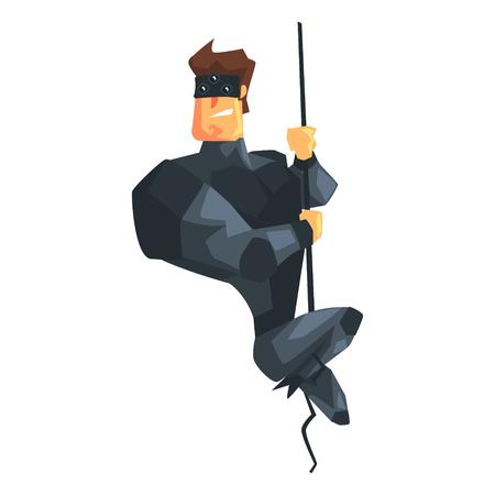 Secret service male agent undercover descending rope.
