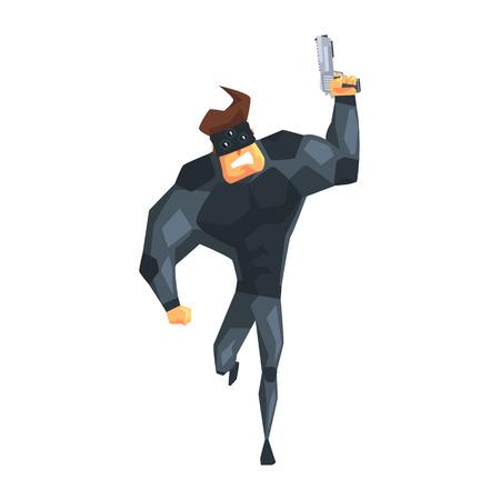 Secret service male agent running with gun. Ilustrace