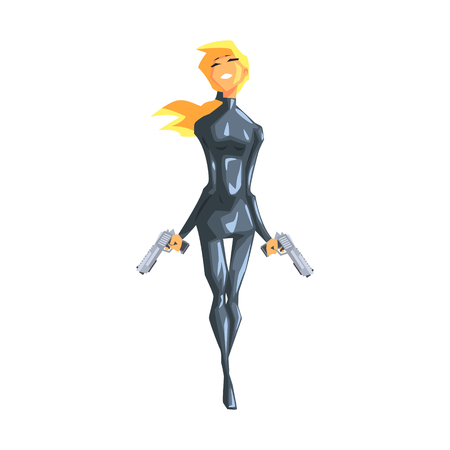 Blonde secret service female agent on duty. Illustration