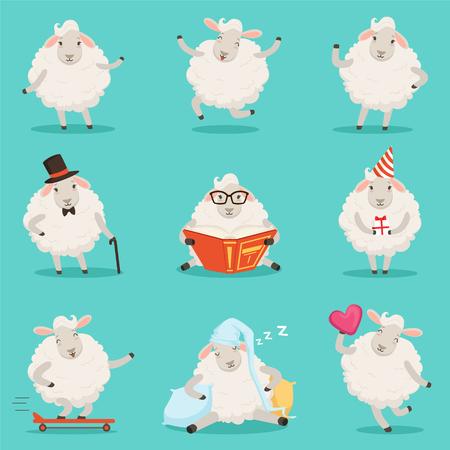 かわいい小さな羊の漫画のキャラクターのラベルのデザインを設定します。
