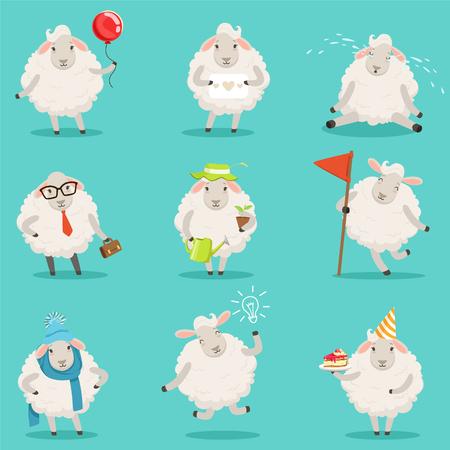 面白いかわいい小さな羊の漫画のキャラクターのラベルのデザインを設定します。