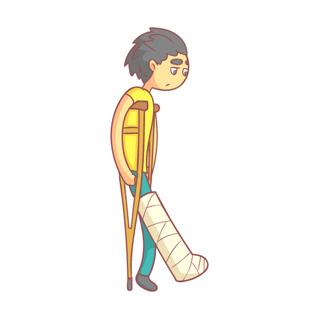 Unhappy young man with dark hair on crutches with broken leg.