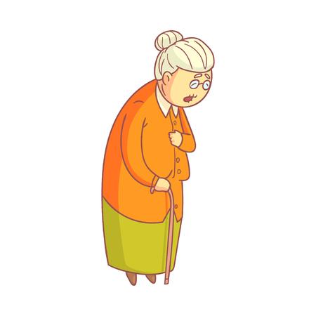杖と一緒に歩いている高齢者の女性。  イラスト・ベクター素材