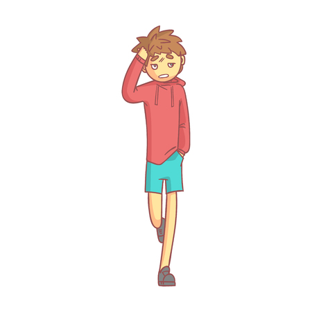 Boy in a red hoodie and blue shorts touching his head suffering a painful headache.