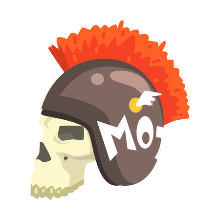 Scull in helmet, colorful sticker with war and biker culture attributes. Illustration