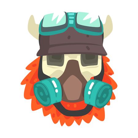 Scull in helmet with gas mask, colorful sticker with war and biker culture attributes.