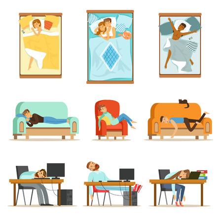 Mensen die op verschillende posities thuis en op het werk slapen, vermoeide personages die een reeks illustraties krijgen om te slapen.