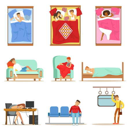 People sleeping in different positions at home and at Work, tired characters getting to sleep set of illustrations. Фото со стока - 76342410