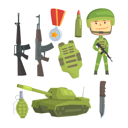 soldiers: Soldier and professional army weapon, set for label design.
