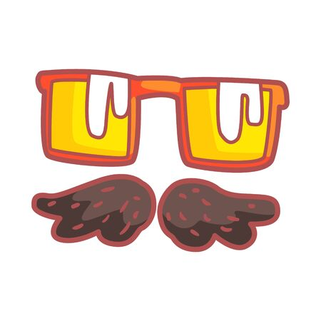 Mustache and glasses, colorful cartoon illustration