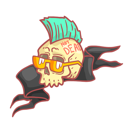 Punk skull wearing glasses.