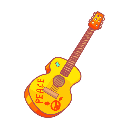 Acoustic guitar with peace lettering. Illustration