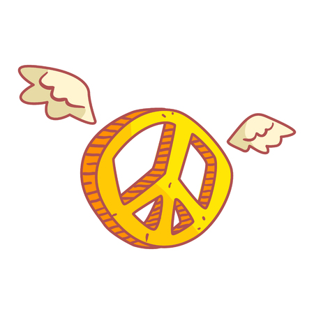 Yellow peace sign with wings.
