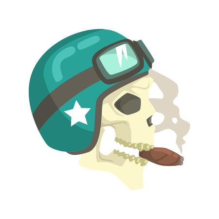 Scull in green helmet smoking cigar.