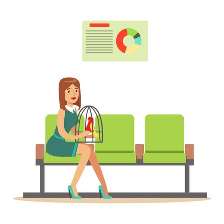 ケージ内の彼女のオウムと待っているホールに座って、医者を訪れるを期待しての女性。  イラスト・ベクター素材