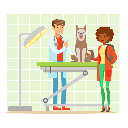 Cheerful woman and veterinary doctor examining dog in vet clinic. Colorful cartoon character Illustration isolated on a white background