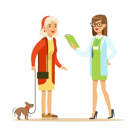 笑顔の女性と獣医クリニックで彼女の小さな犬。  イラスト・ベクター素材