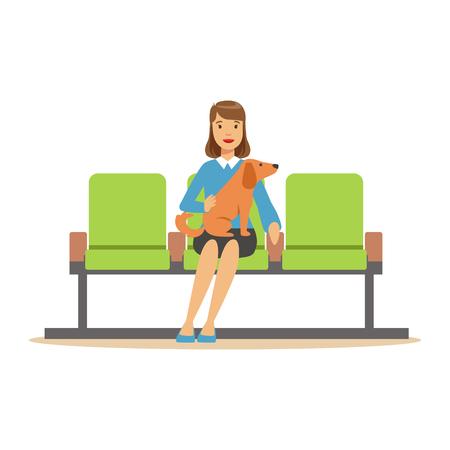 女性は彼女のペットの犬を待っているホールに座っている医者を訪れるを期待しています。カラフルな漫画のキャラクター イラスト