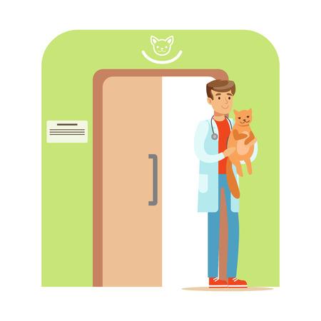 Veterinaire arts die een kat in zijn hand houdt. Veterinaire kliniek interieur. Kleurrijke cartoon karakter illustratie Stock Illustratie