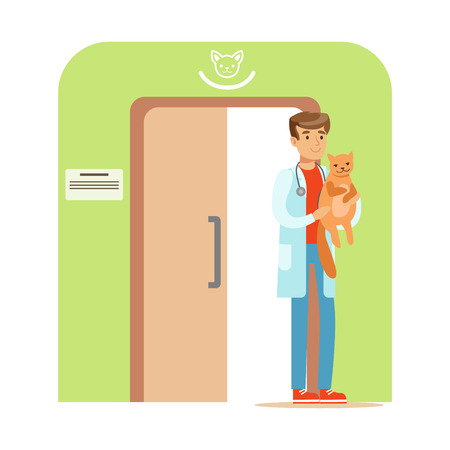 Veterinary doctor holding a cat in his hand. Veterinary clinic interior. Colorful cartoon character Illustration
