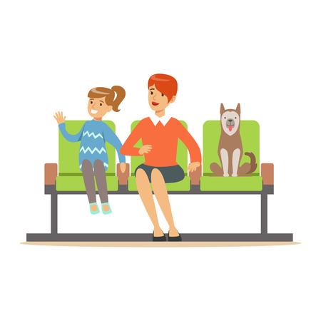 母と彼女のペットの犬を待っているホールに座っていると医者を訪れるを期待している娘。カラフルな漫画のキャラクターのイラストが白い背景に  イラスト・ベクター素材