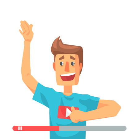 Emotional video blogger man speaking. Colorful cartoon character vector Illustration