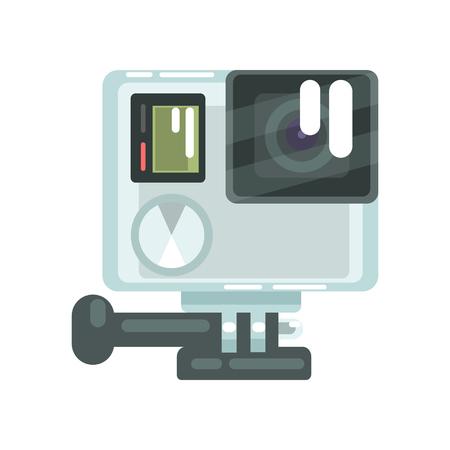 High definition photo video go camera pro action. Colorful cartoon vector Illustration Illustration