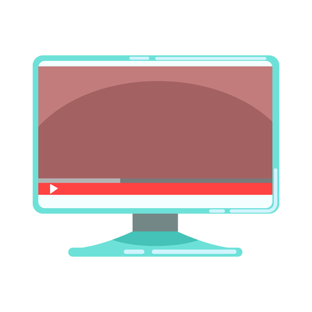 Computer monitor with media player interface. Colorful cartoon vector Illustration Illustration