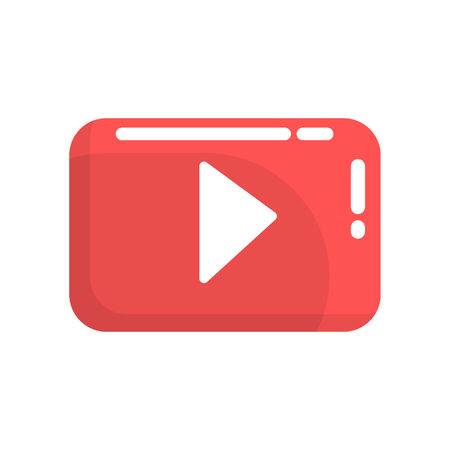 Red video play button. Internet or youtube button. Colorful cartoon vector Illustration