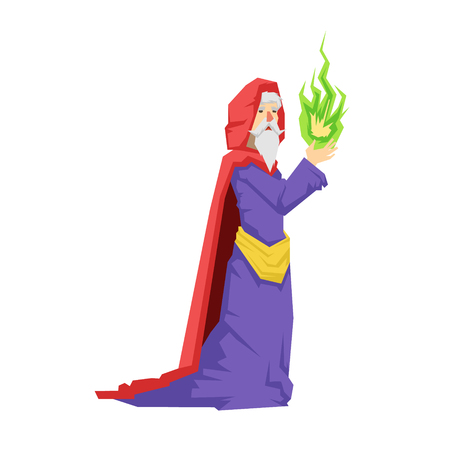 Old wizard in a red cape holding green magic ball. Colorful fairy tale character Illustration