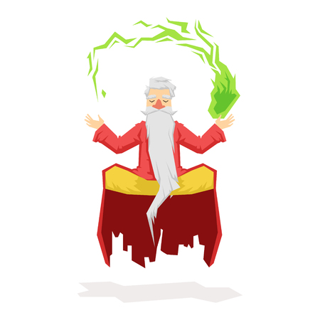 Levitating magician with a magic ball. Colorful fairy tale character Illustration Illustration