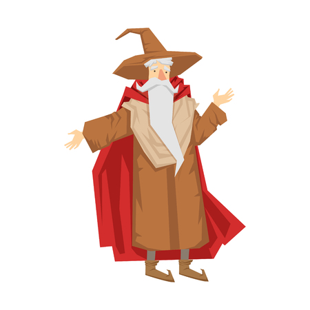 Old bearded wizard in the pointed hat. Colorful fairy tale character Illustration