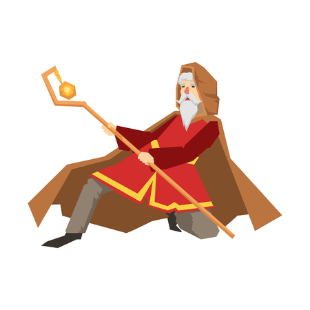 Old wizard holding magic staff. Colorful fairy tale character Illustration