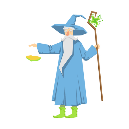 Old bearded wizard in a blue pointed hat holding magic staff. Colorful fairy tale character Illustration