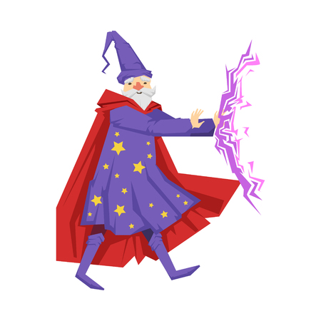 Magician in a purple robe in action. Colorful fairy tale character Illustration