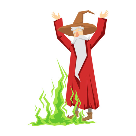 Wizard waving with both hands. Colorful fairy tale character Illustration